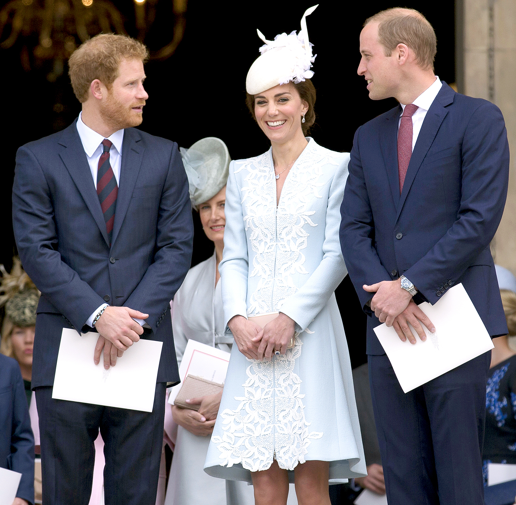 Britain's Prince Harry, Britain's Catherine, Duchess of Cambridge and Britain's Prince William, Duke of Cambridge leave after attending a national service of thanksgiving for the 90th birthday of Britain's Queen Elizabeth II at St Paul's Cathedral in London on June 10, 2016.