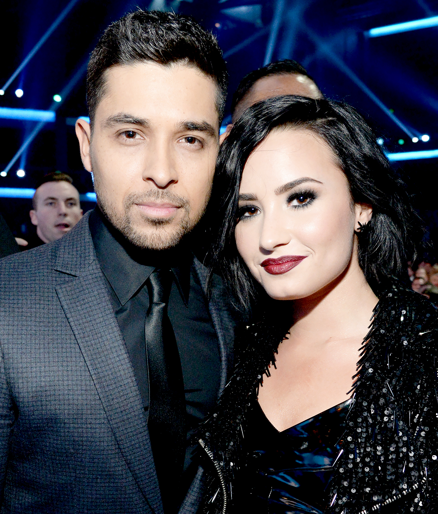Wilmer Valderrama and Demi Lovato attend the 2015 American Music Awards.