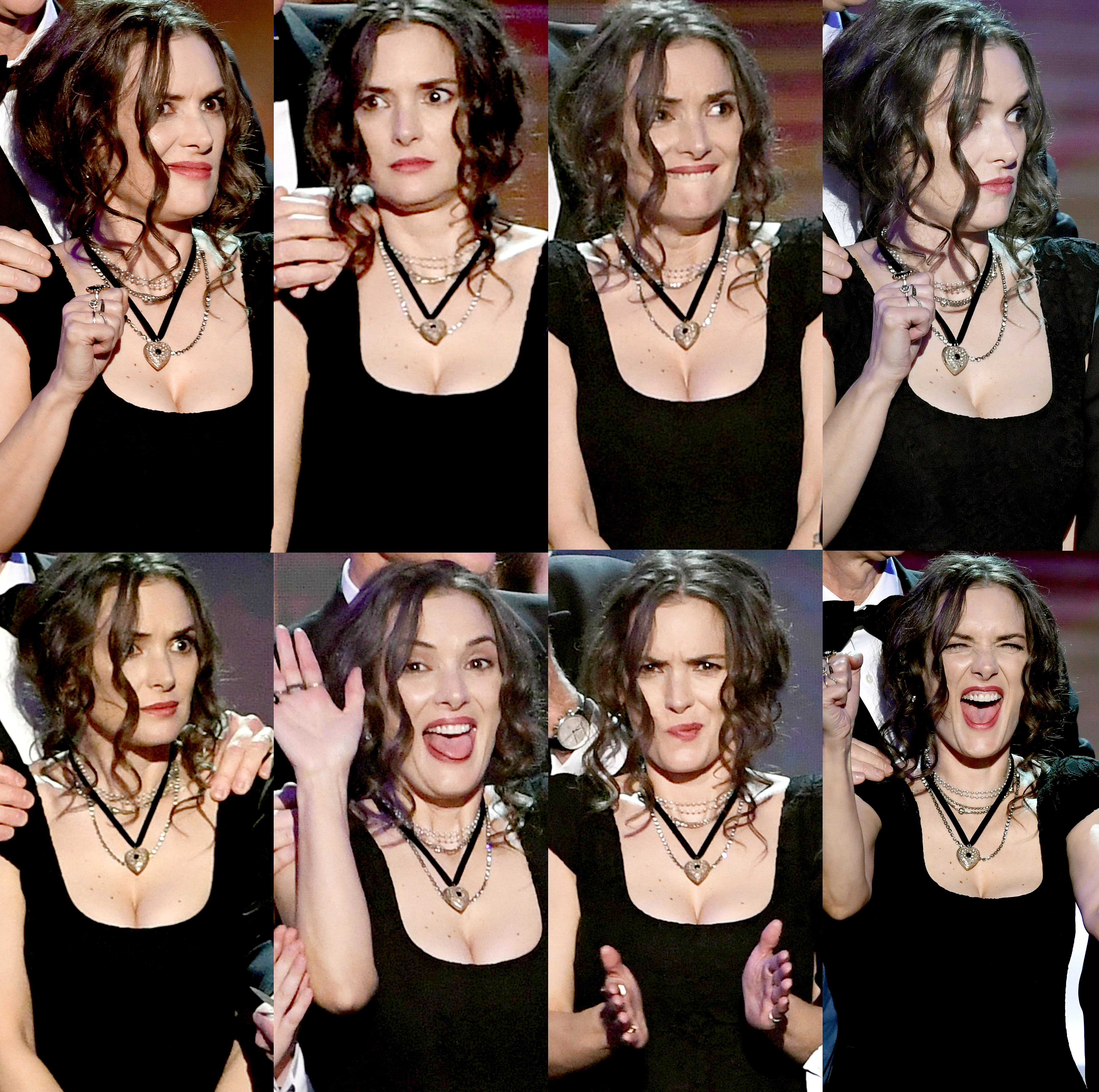 Winona Ryder's facial expressions as she reacts to actor David Harbour's acceptance speech as their Netflix series 'Stranger Things' wins the Outstanding Performance by an Ensemble in a Drama Series onstage during The 23rd Annual Screen Actors Guild Awards at The Shrine Auditorium on January 29, 2017 in Los Angeles, California.