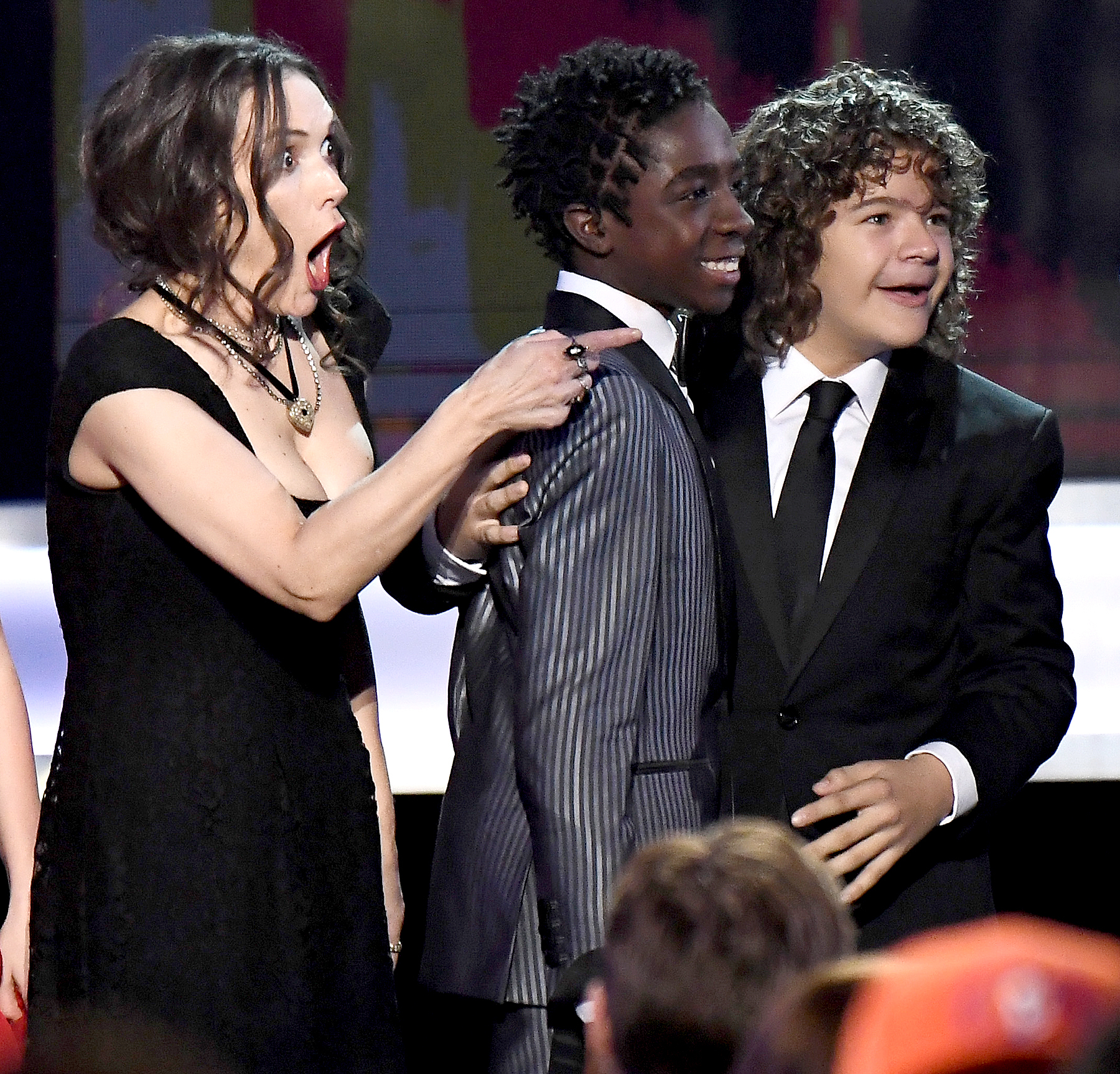 The cast of 'Stranger Things' accepts the award for Best Performance by an Ensemble in a Drama Series on stage during the 23rd Annual Screen Actors Guild Awards at the Shrine Expo Hall on Jan. 29, 2017, in Los Angeles.