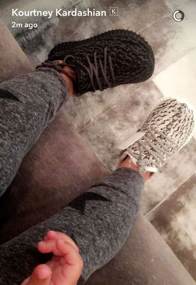 b020f38f4471d9 Kim and Kourtney Kardashian Give a Sneak Peek of the Baby Yeezy Boosts