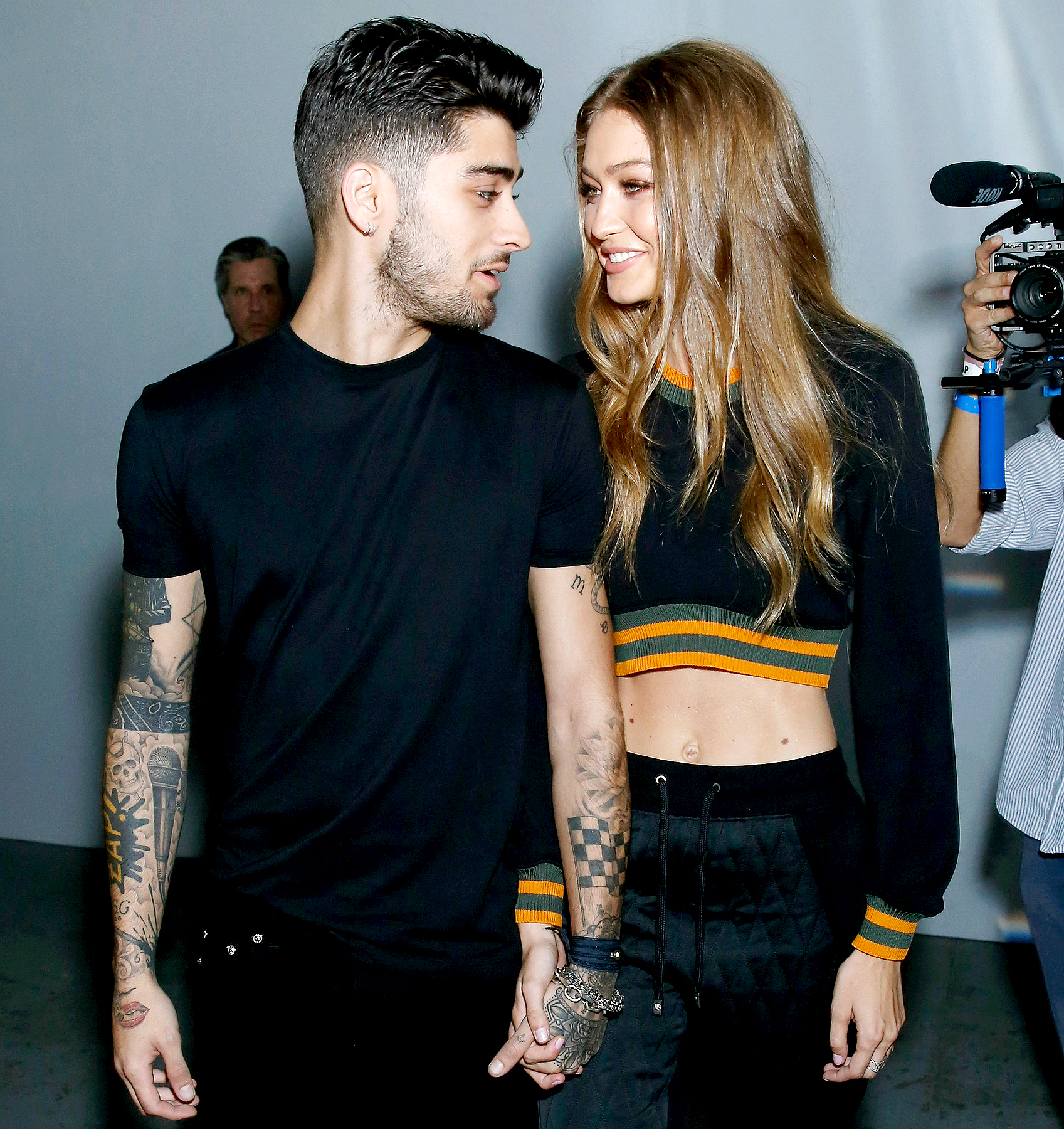 Zayn Malik and Gigi Hadid attend the Versus Versace show during London Fashion Week Spring/Summer collections 2016/2017 on September 17, 2016 in London, United Kingdom.