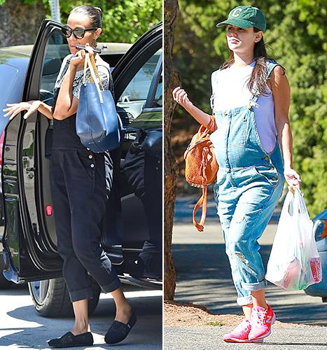 Zoe Saldana and Rachel Bilson - pregnant overalls
