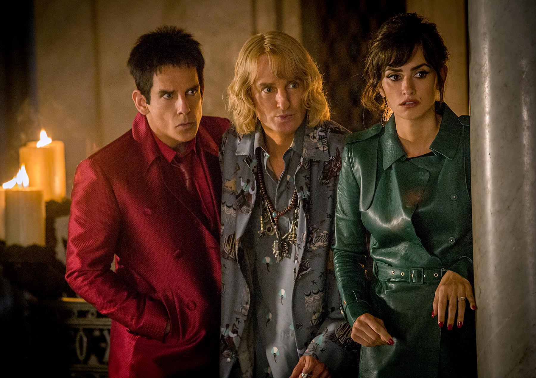 Ben Stiller plays Derek Zoolander, Owen Wilson plays Hansel, and Penelope Cruz plays Valentina Valencia in 'Zoolander 2.'